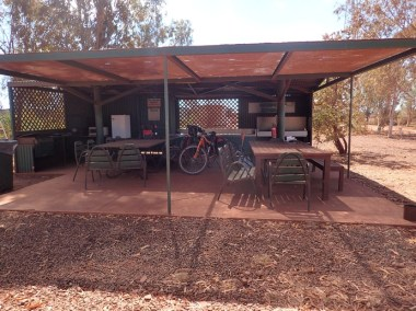 Auski's hot dusty camp kitchen. My refuge