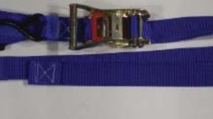 "1.5 inch Ratchet Tiedown with ""S"" Hook, Carabiner and Soft Loop"