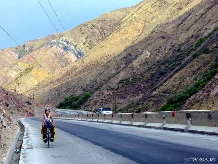 cycle touring road to Issyk Kul Chui river