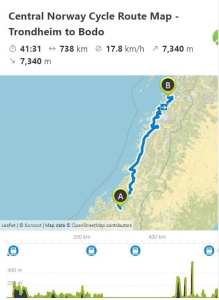 Central Norway Cycle Route Map - Trondheim to Bodo