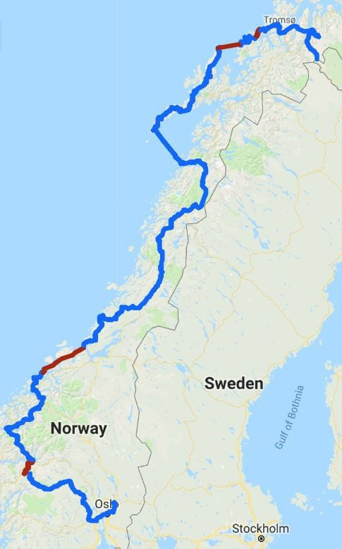 norway cycling route map