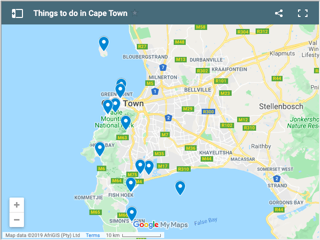 cape town tourist attraction map
