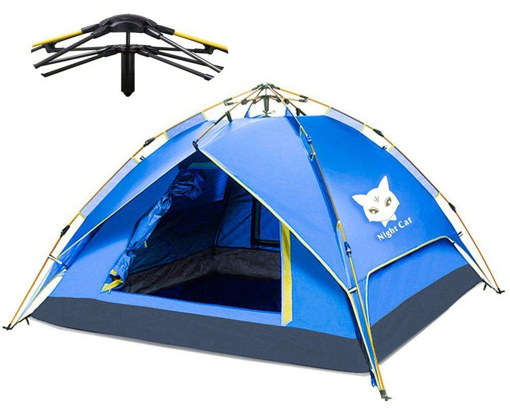 Night Cat Camping Tent 2 3 Persons Easy Instant Pop Up Tent Automatic Hydraulic Double Layer