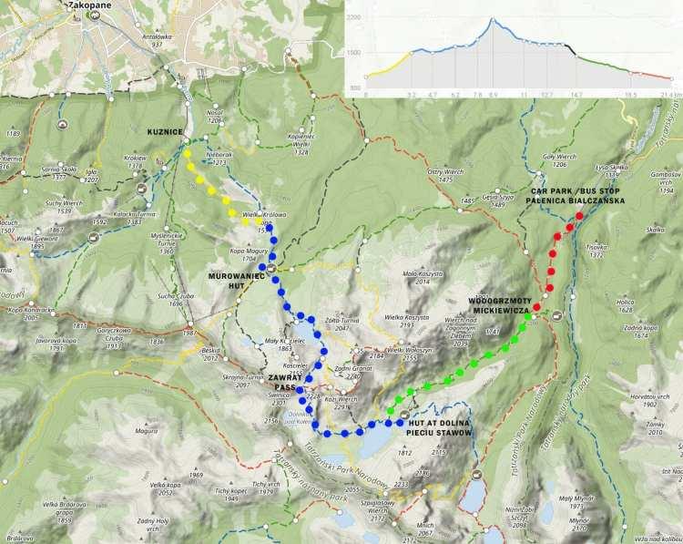 hiiking map zawarat tatra