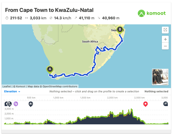 cycling south africa route map gps
