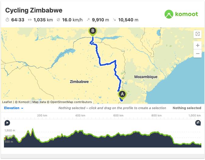 zimbabwe itinerary map gps