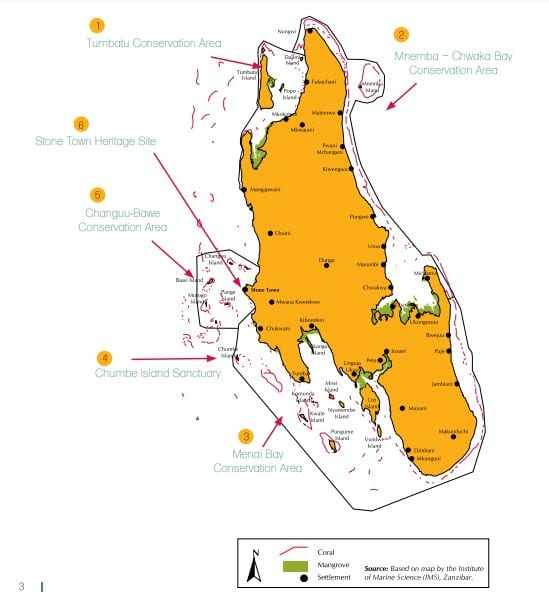 Zanzibar Marine Conservation Areas Map