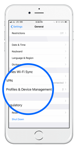 ios_profile وإدارة الجهاز