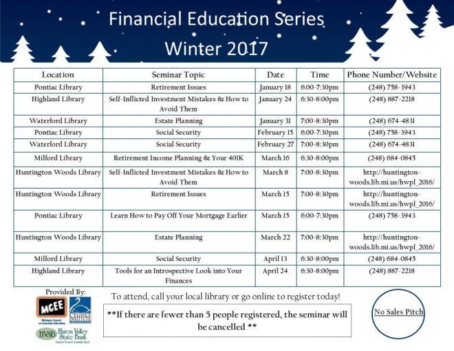 Winter 2017 Schedule