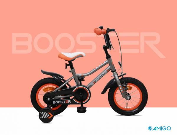 AMIGO Booster 12 tommer drengecykel med støttehjul grå fra højre med rød baggrund