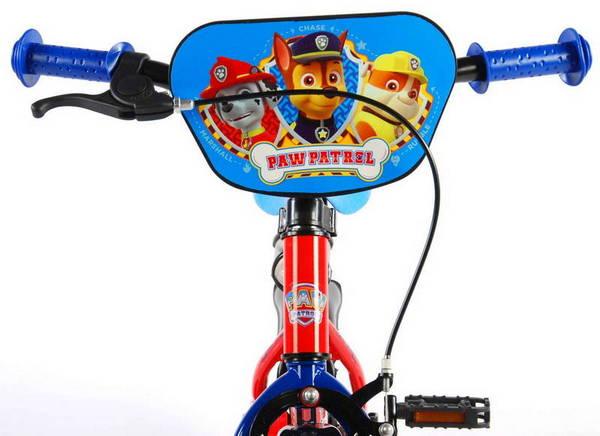 Paw Patrol cykel, rød og blå med støttehjul, fod og håndbremse frontskærm