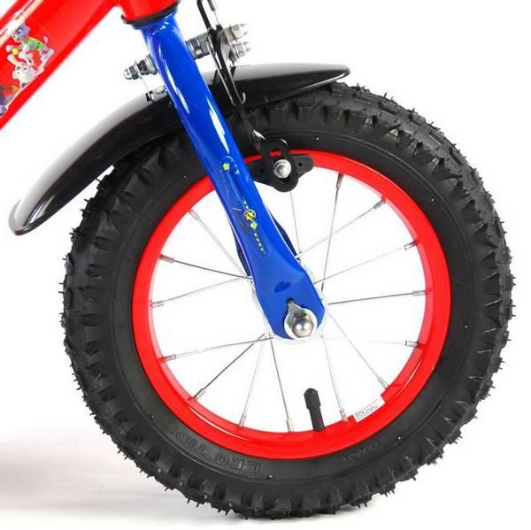 Paw Patrol cykel, rød og blå med støttehjul, fod og håndbremse forhjul