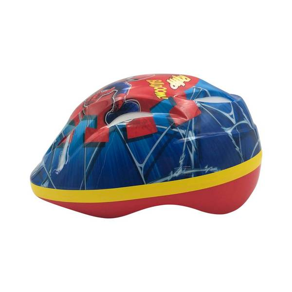 Spiderman cykelhjelm i rød, blå og gul og med en flot Spiderman dekoration. set fra venstre