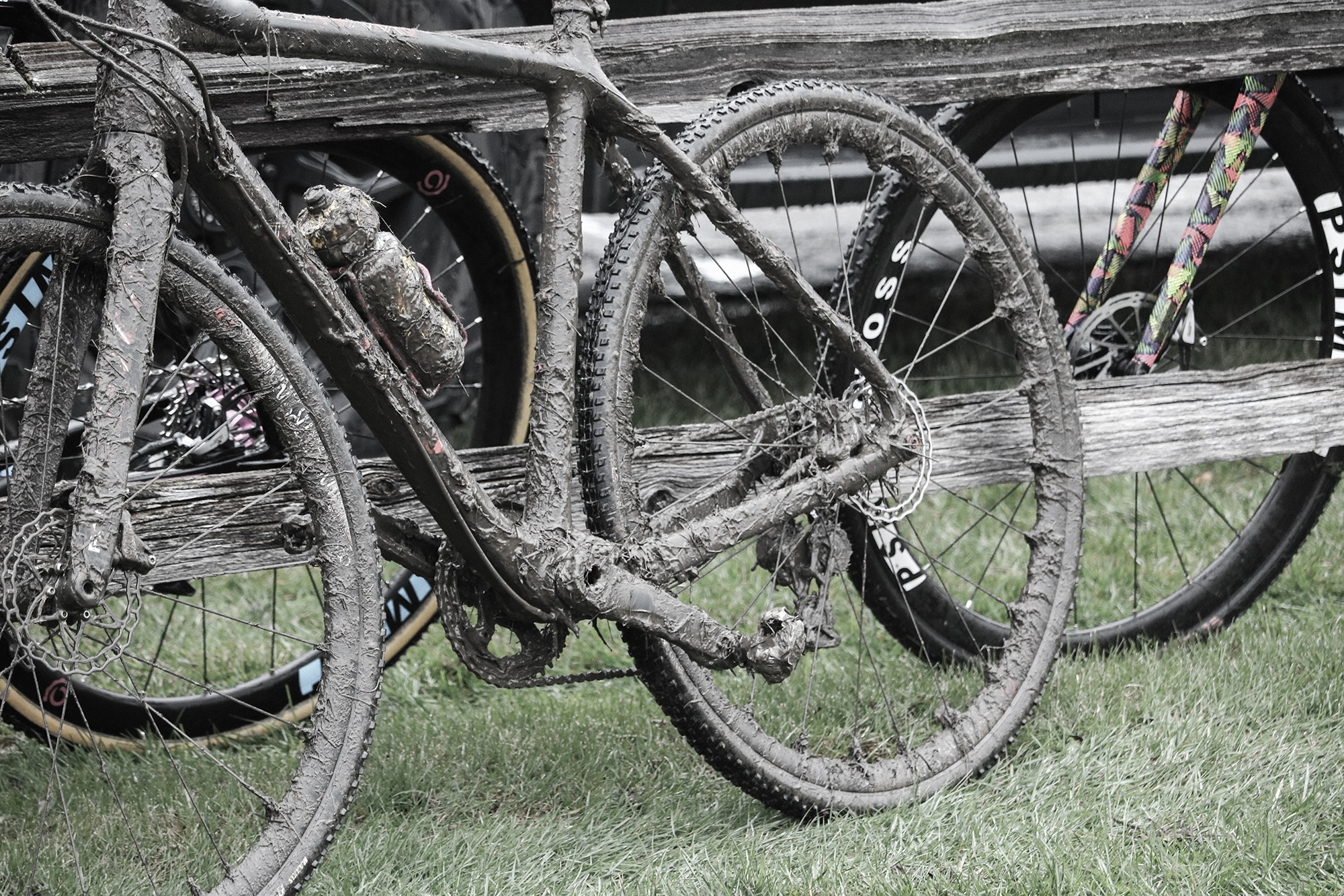 Bike covered in mud