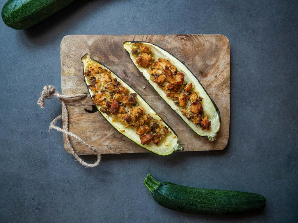 Stuffed zucchini with rice ready to eat
