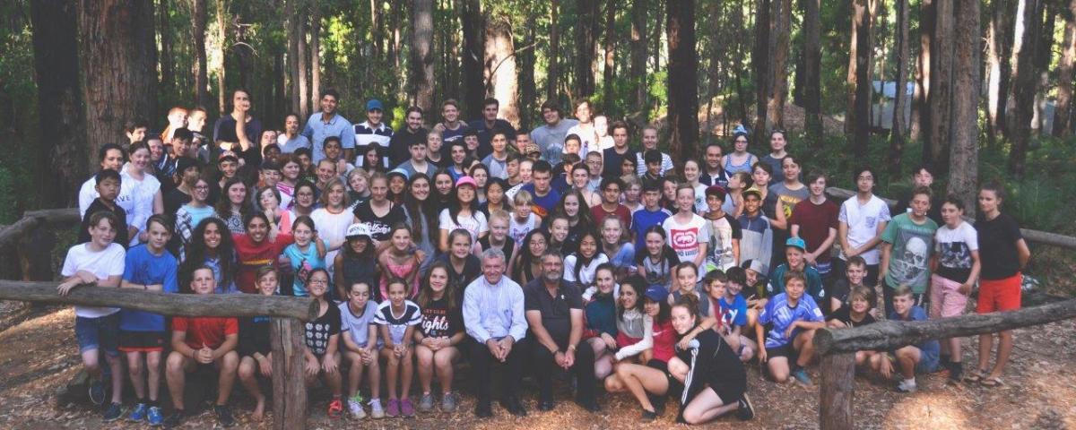 CYM teen's camp retreat group photo