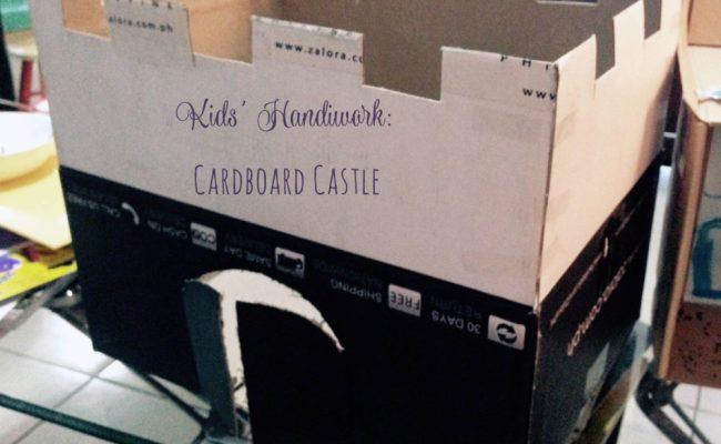 kids handiwork cardboard castle title