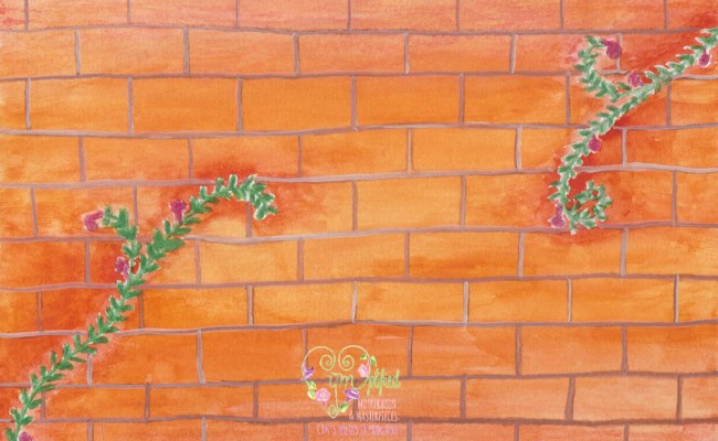 brick wall with vines
