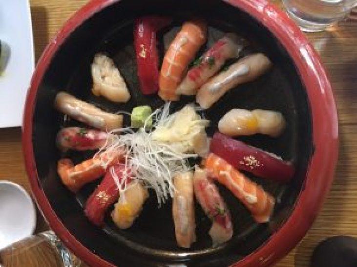 Maguro tuna Hotategai scallop Sake salmon Hamachi yellowtail Suzuki seabass