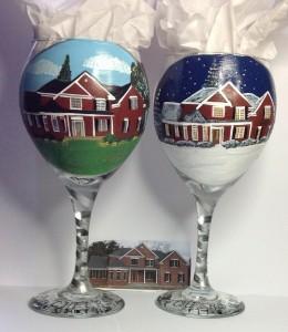 Custom Painted House Wine Glasses