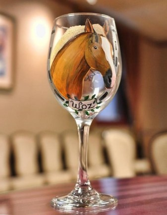 Custom Painted Horse Wine Glass