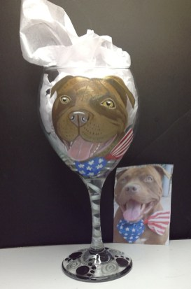 Pet Portrait Wine Glass Custom painted