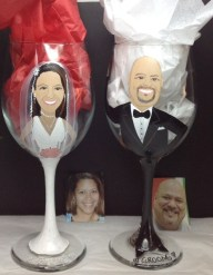 Custom Bride and Groom Portrait Wine Glasses