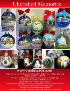 "3"" $59.95. 3.5"" $69.95  4"" $79.95. For your Home or Pet Design. Includes personal message on the back. Presented in a holiday storage box, with hanger, bow and gift tag. House ornaments choice or summer or winter scene."