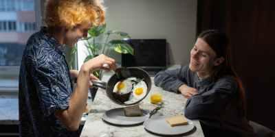 a couple having breakfast