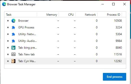 Browser task manager