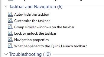 control taskbar