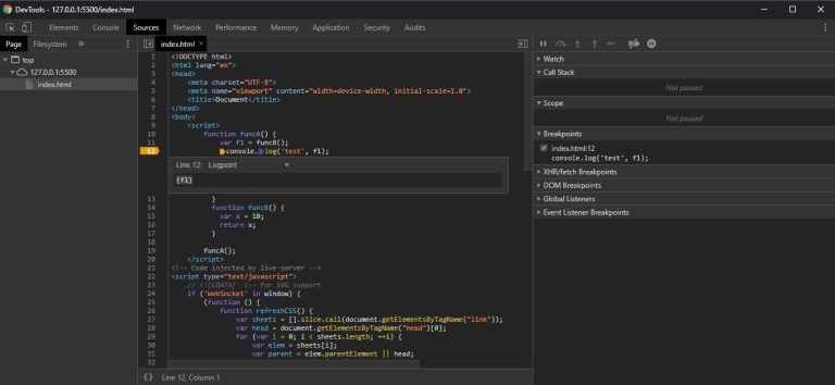 Chrome DevTools log points