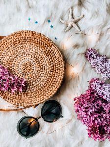 5 Helpful Things I Bought to Kickstart My Blog, basket purse, lilac, twinkly lights, fur blanket