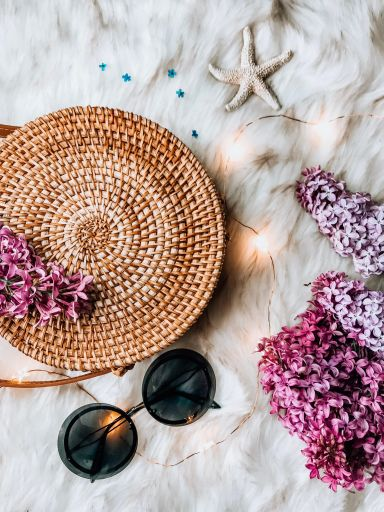 5 Helpful Things I Bought to Kickstart My Blog, basket purse, lilac, twinkly lights, fur blanket