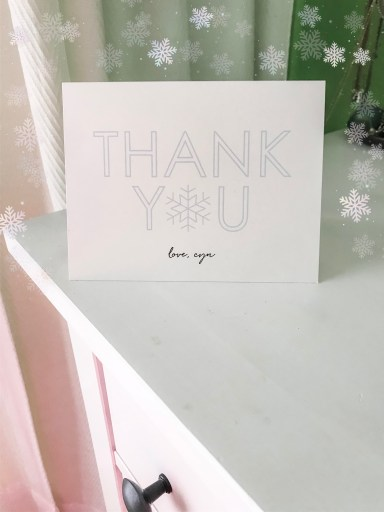 thank you card. snow flakes. dresser