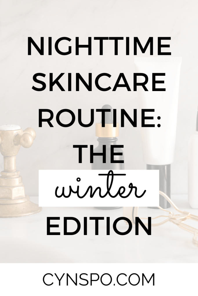 nighttime skincare routine: the winter edition. serum, lotion, eyelash curler, golden faucet, marble countertop.