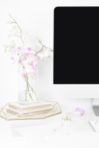 computer, orchid, books, binder clips, washi tape, keyboard. 10 quick fixes to make your pinterest look more professional