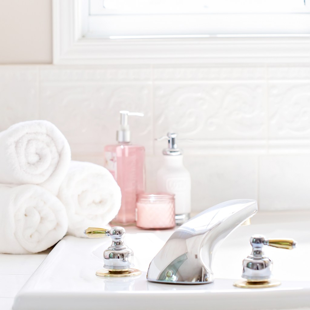 spa day, towels, soaps and lotions, bathtub. My Winter Skin-Care Routine