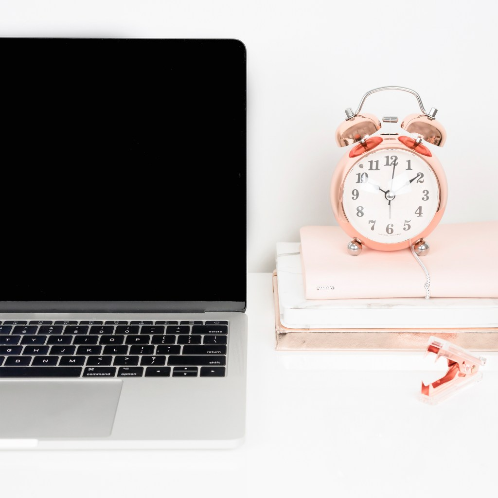 latpop, rose gold alarm clock, notebooks, what to expect in your first year of blogging