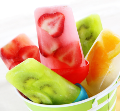 homemade popsicles with real fruit pieces