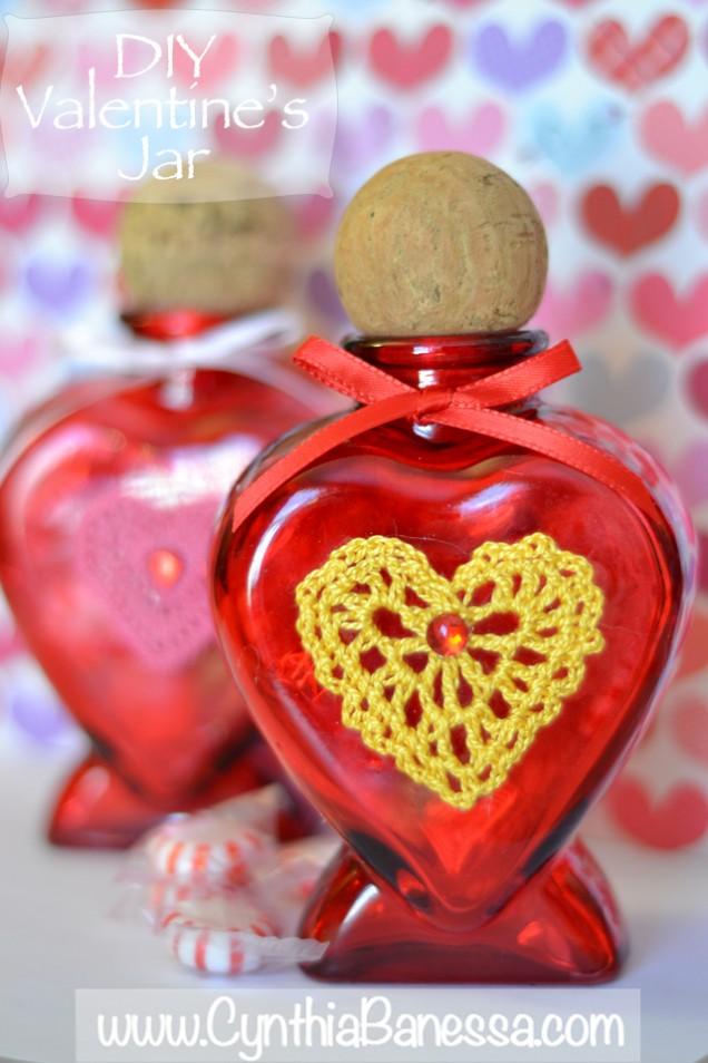 Valentine Jar Yellow Crochet Heart