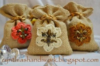Valentine's Day Burlap Bag w/Crochet Motif