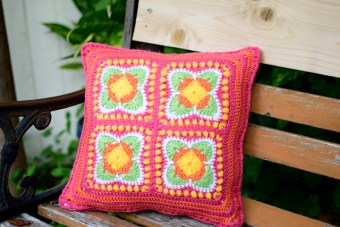 Crochet Flower Motif Pillow