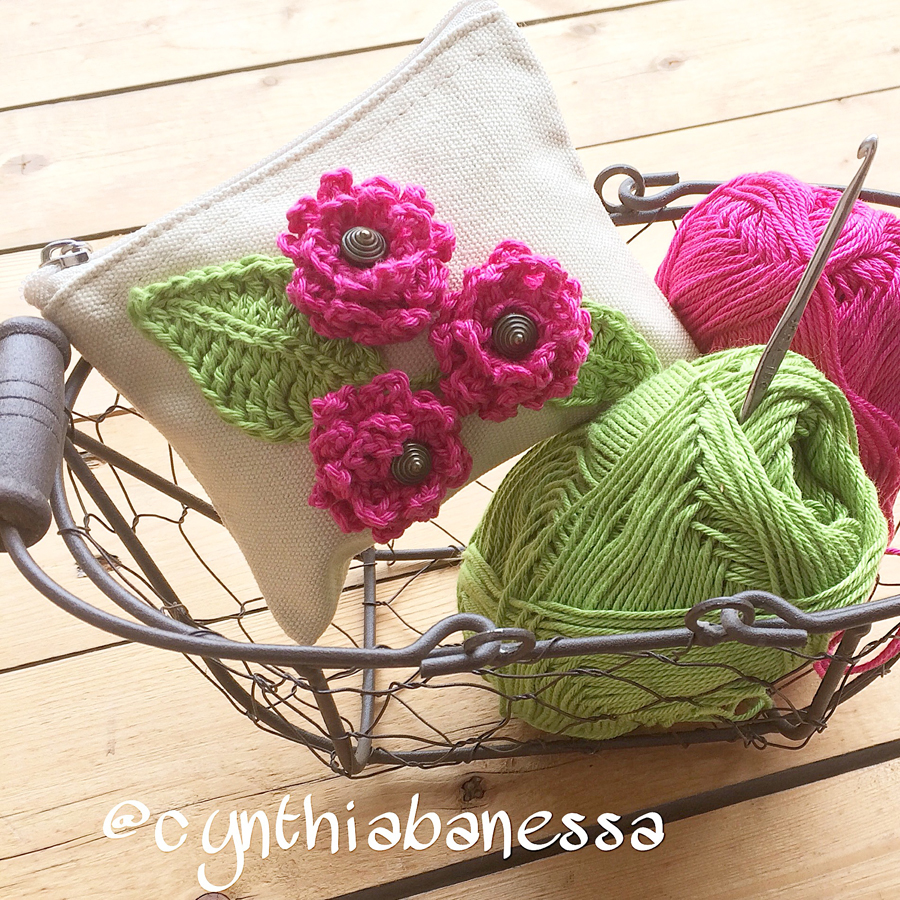 Canvas Pouch with Crochet Flowers 4