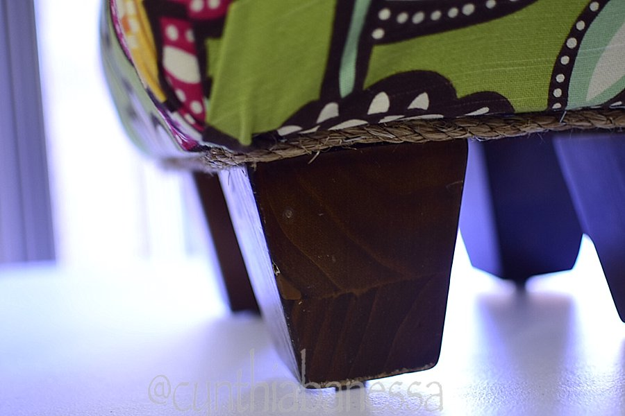12 by 12 footstool diy leg view