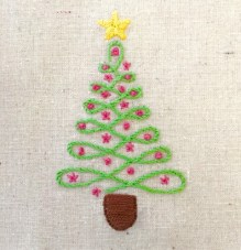 Free Hand Embroidery Christmas Tree Pattern