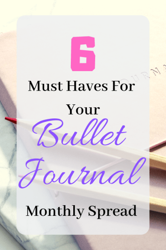 6 Things Every Bullet Journal Monthly Spread Should Include | If you are new to bullet journaling and trying to figure out how to set up your monthly spread, look no further. Here are 6 things every bullet journal monthly spread needs