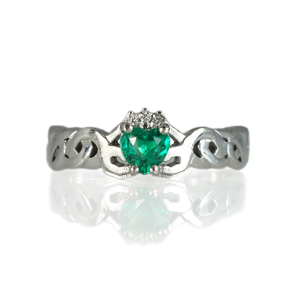 Kali Emerald Claddagh Promise Ring