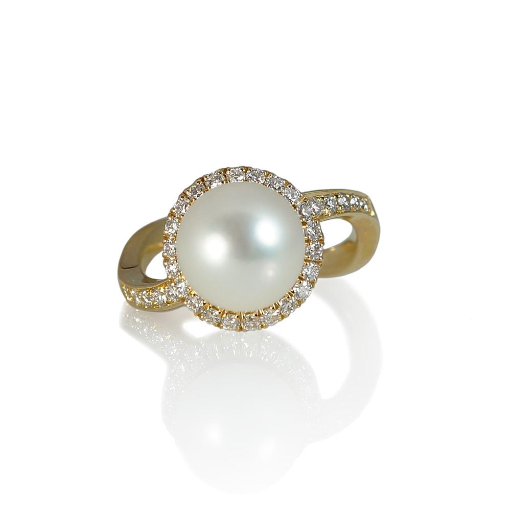 Cynthia Britt Ana Diamond Halo And Pearl Engagement Ring