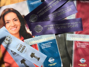 One reason to try toastmasters is the support! Look at all the ribbons!
